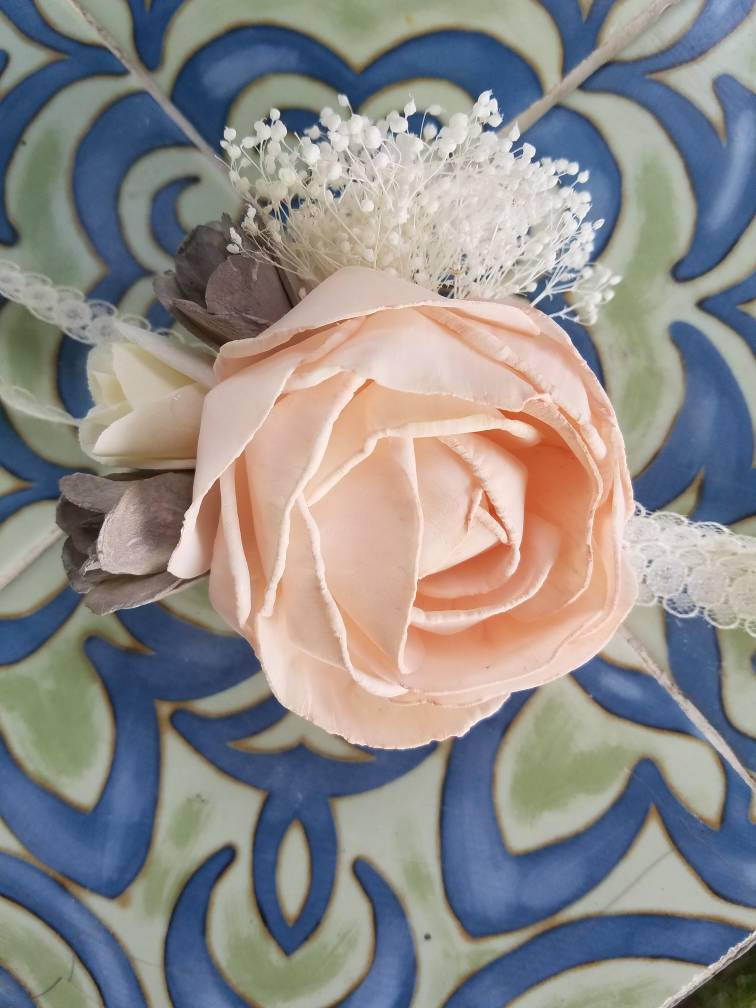 Wooden Rose Wrist Corsage