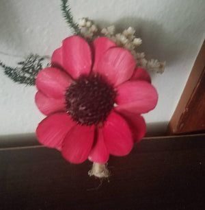 Dark Red Daisy Boutonniere