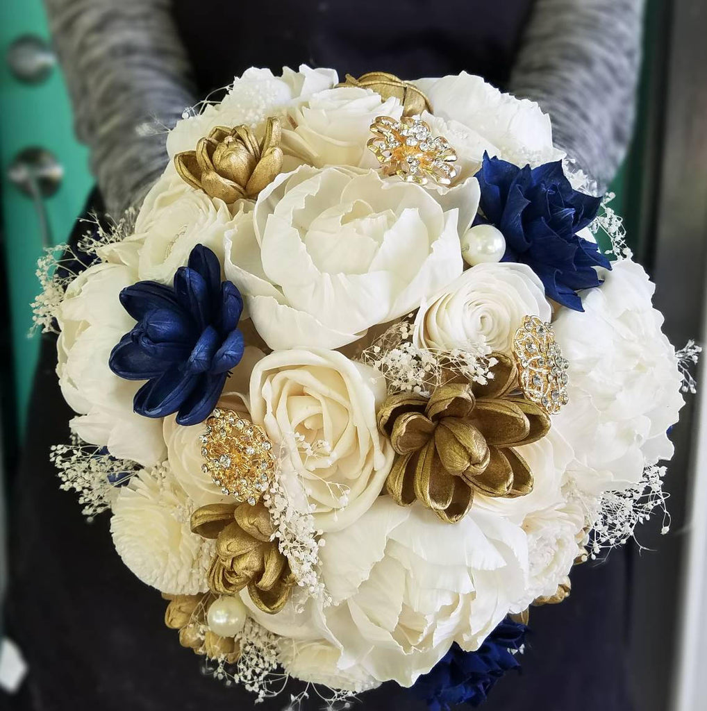 White And Gold Wedding Flowers: Navy And Gold Peony Bouquet