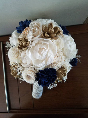 Navy and Gold Peony Bouquet