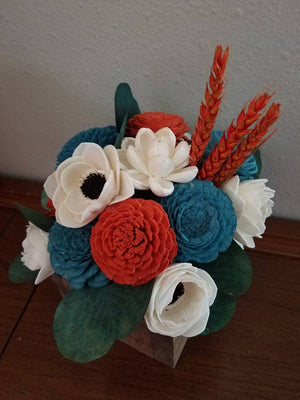 Teal and Orange Fall Centerpiece