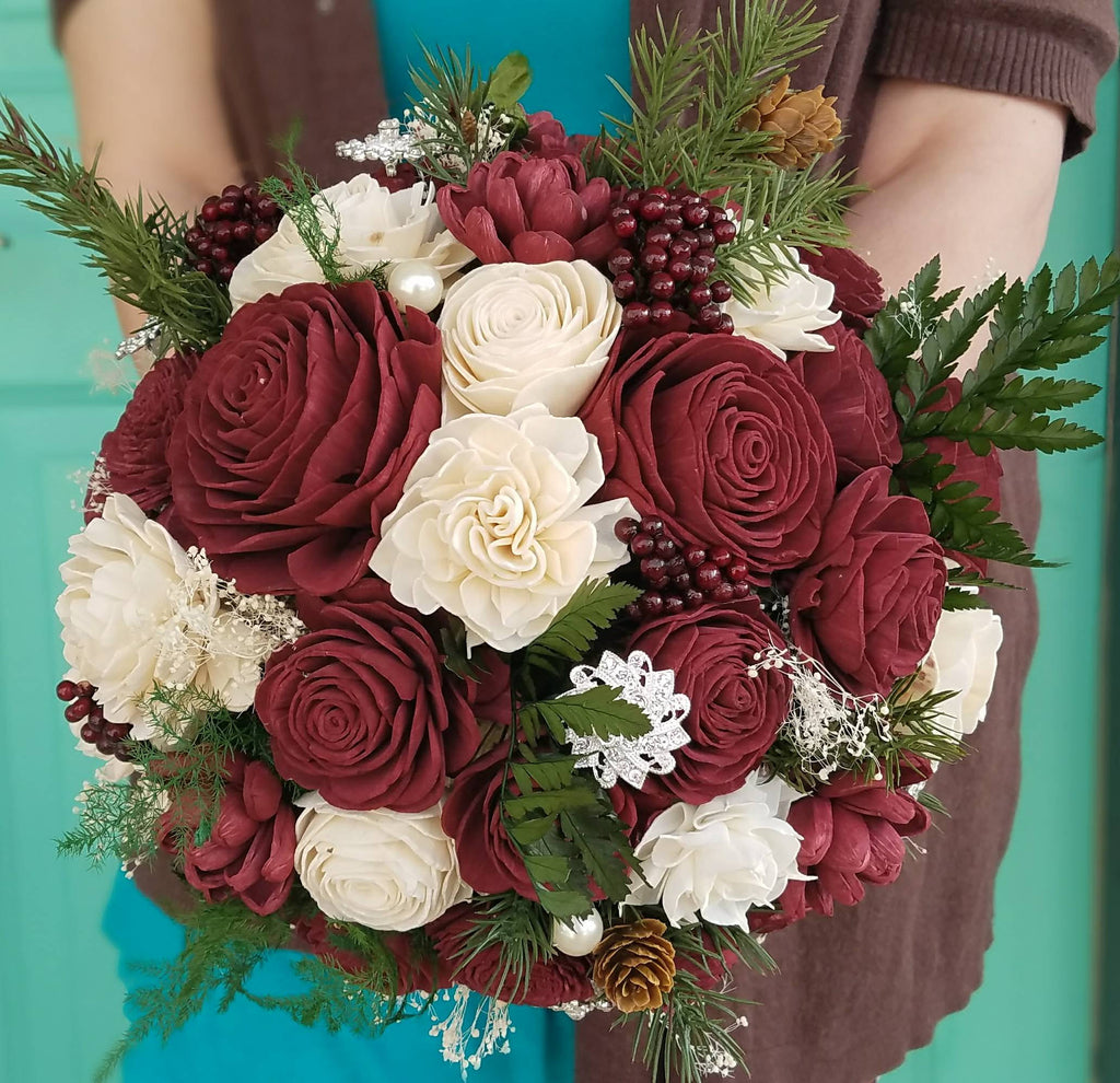Wooden flower bouquets and decor items for weddings holidays gifts burgundy winter charm bouquet izmirmasajfo