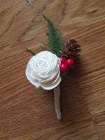 Winter Berry Rose Boutonniere