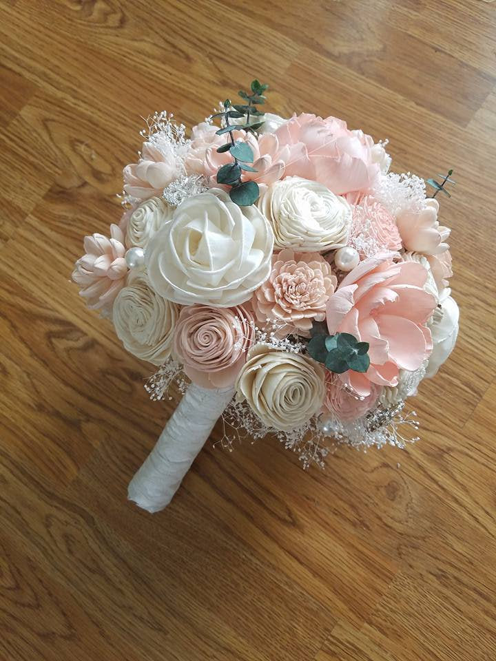 Blush and Ivory Eucalyptus Bouquet