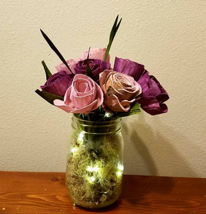 Lighted Mason Jar Centerpiece