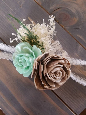 Mint and Bark Corsage