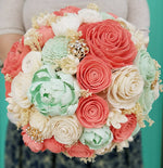 Coral and Mint Mixed Flower Bouquet