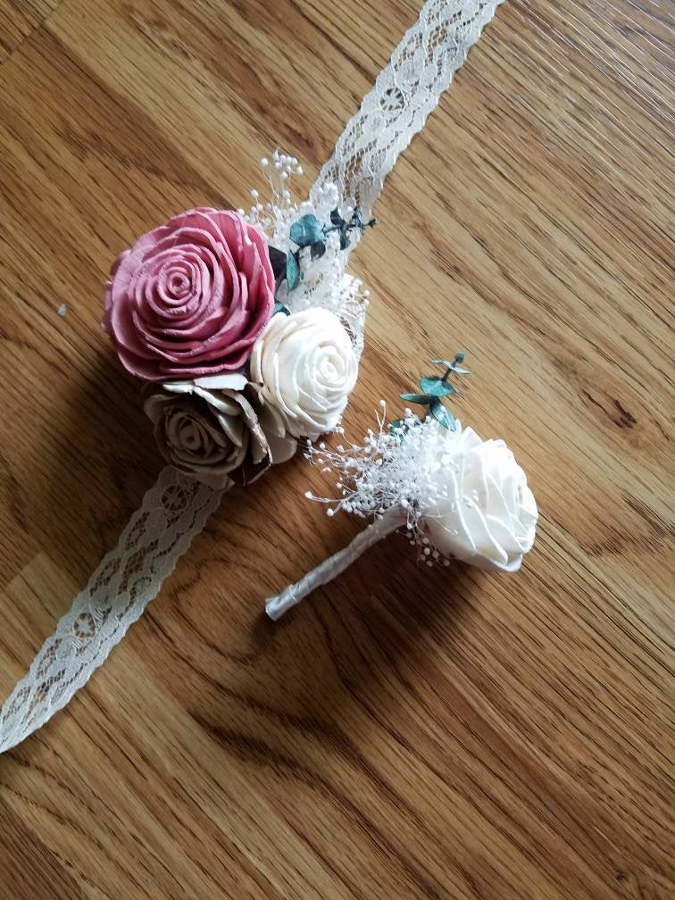 Dusty Rose and Bark Corsage