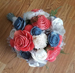 Coral and Dusty Blue Bouquet