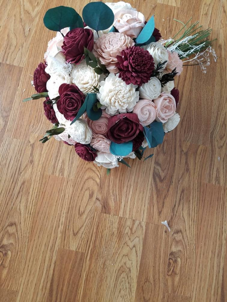 Burgundy and Blush Eucalyptus Bouquet