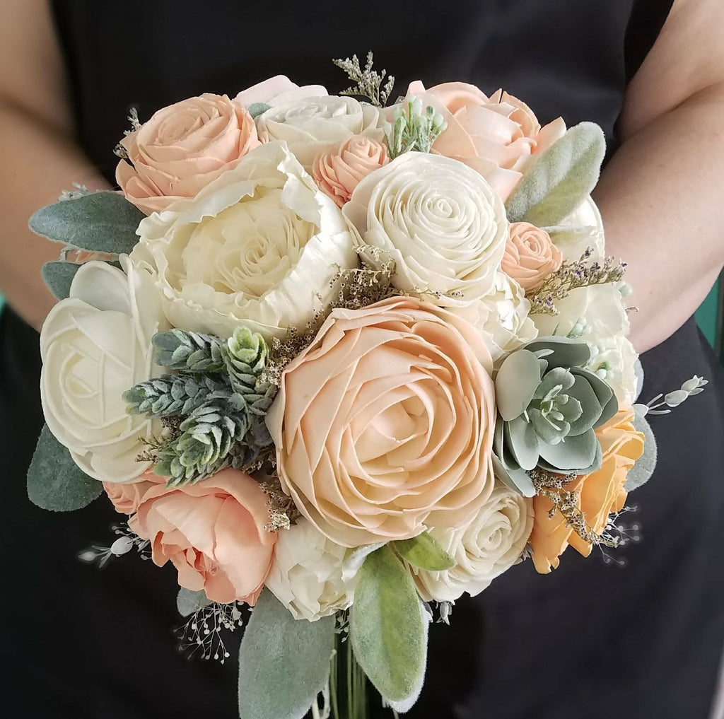 Blushy Peach Succulent Bridesmaid Bouquet