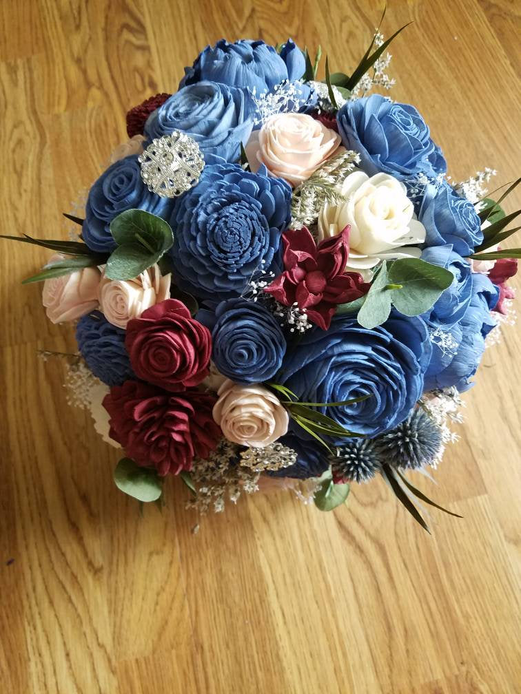Steel Blue and Burgundy Fall Bouquet