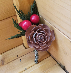Pine and Berry Boutonniere
