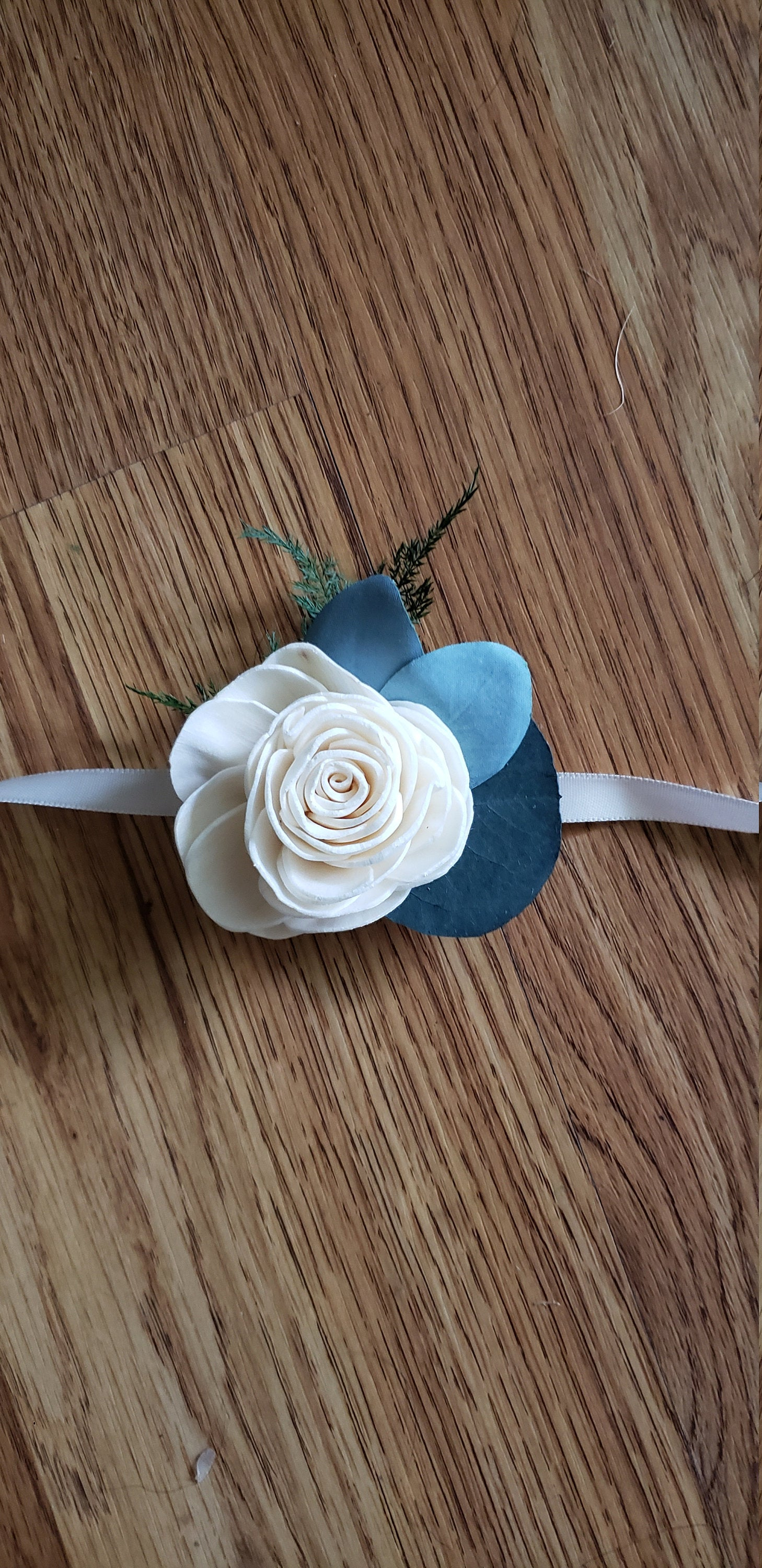 Rose and Eucalyptus Wrist Corsage