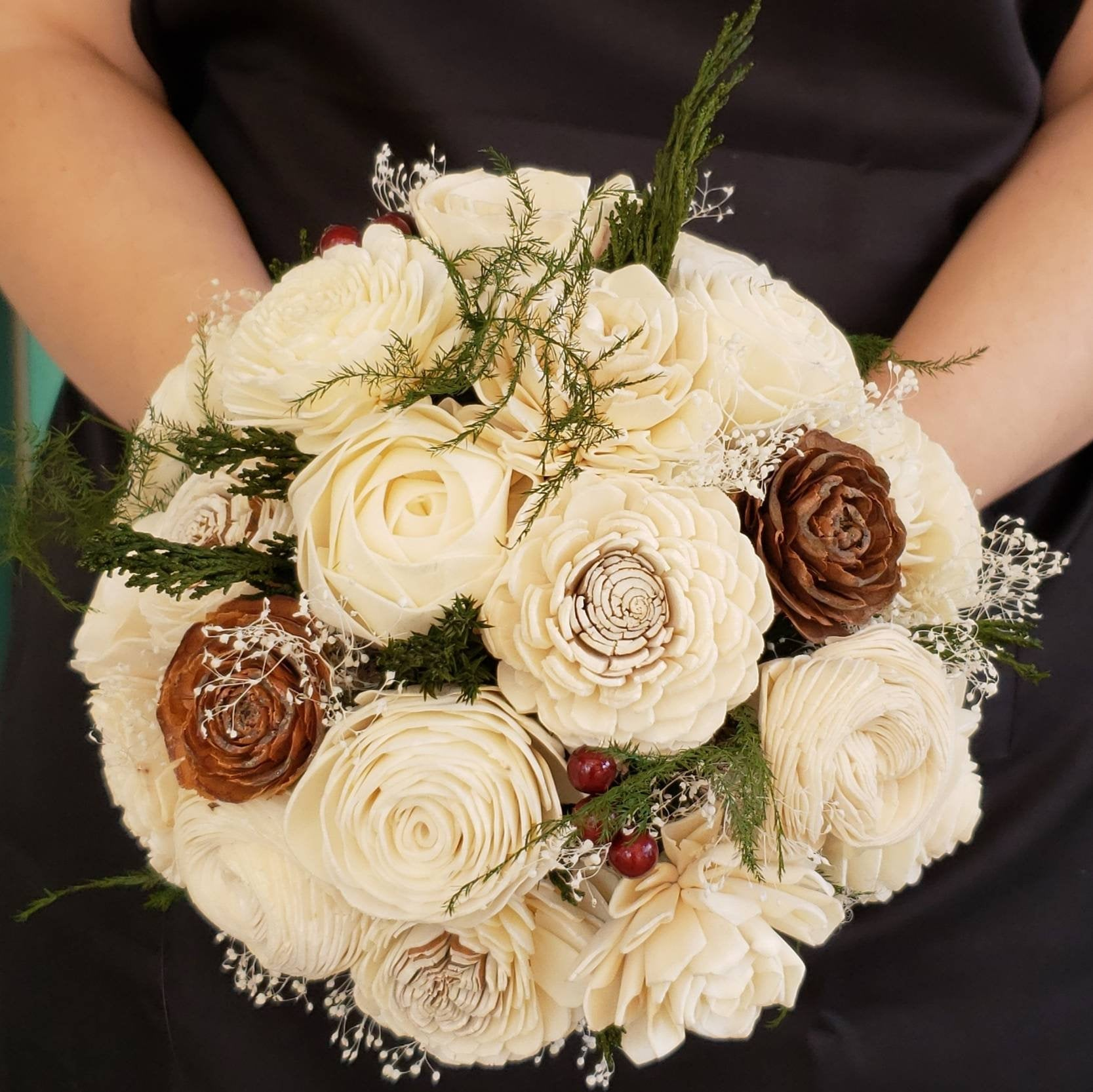 Ivory Winter Pine Bouquet