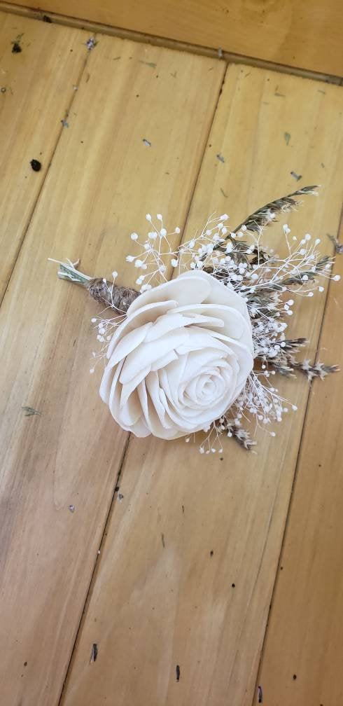 Ivory Rose Rustic Boutonniere