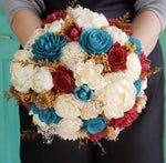 Teal and Harvest Red Rustic Bouquet