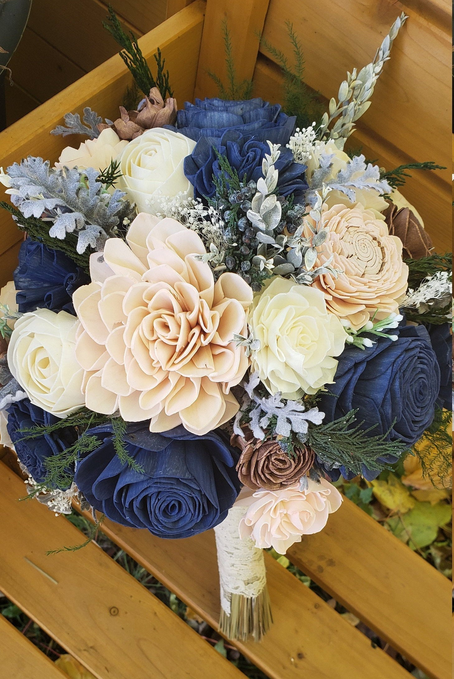 Navy Blue, Rose Gold, and Blush Wildflower Bouquet