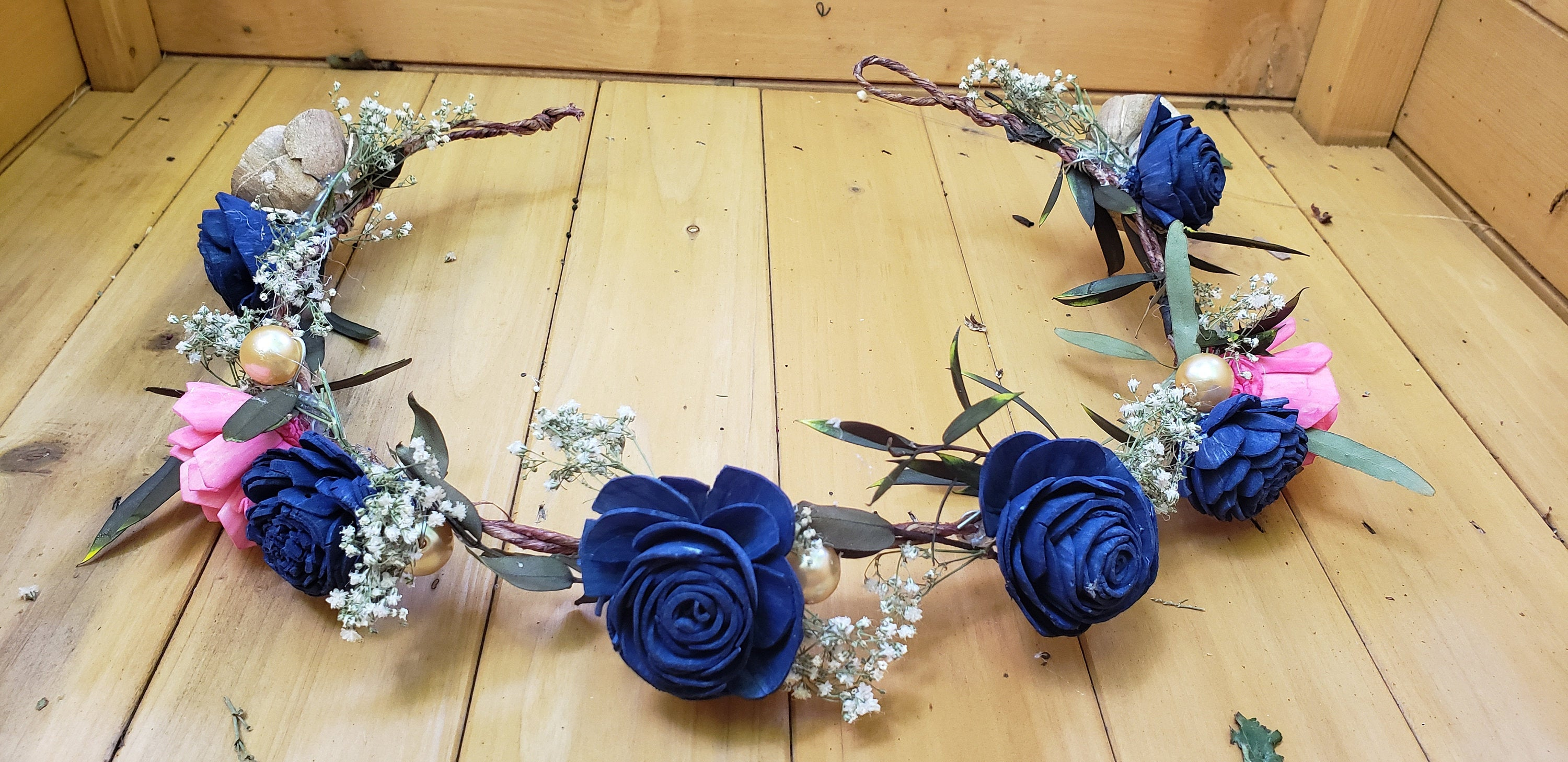Navy and Hot Pink Flower Crown