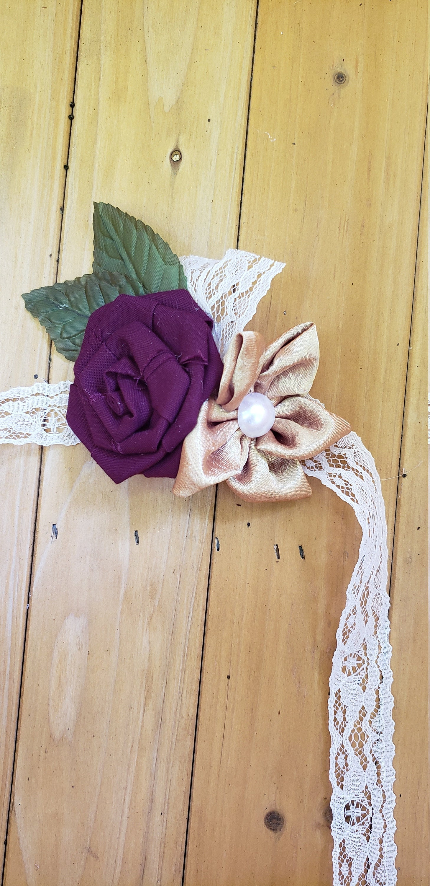 Plum and Gold Fabric Corsage