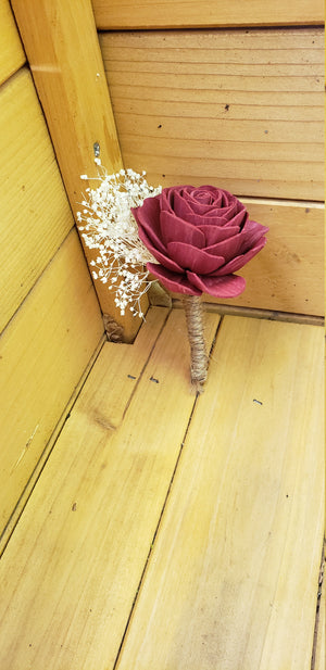 Burgundy Rose Rustic Boutonniere