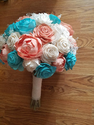 Turquoise and Coral Beach Bouquet