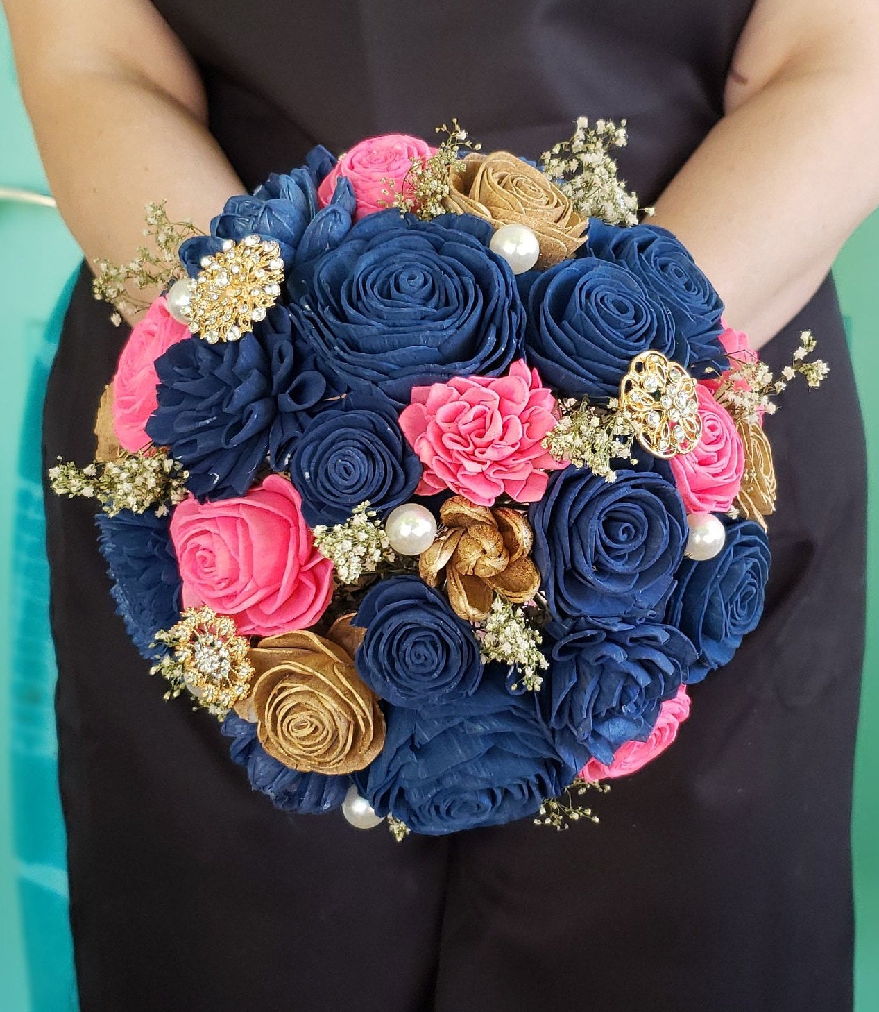Hot Pink and Navy Blue Bouquet