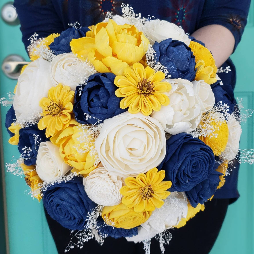 Dark Blue and Yellow Sunflower Bouquet