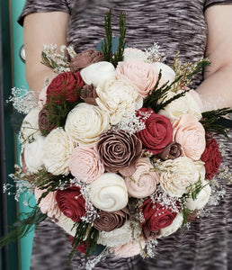 Burgundy, Blush, and Rose Gold Evergreen Bouquet