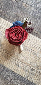 Wine and Navy Boutonniere