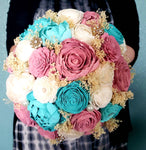 Turquoise and Dusty Rose Beach Bouquet