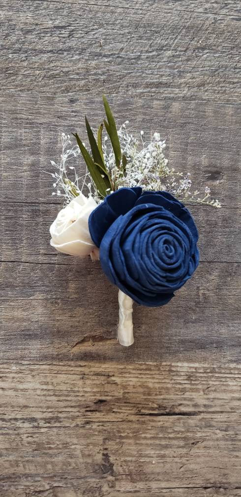 Navy Blue Rose Boutonniere