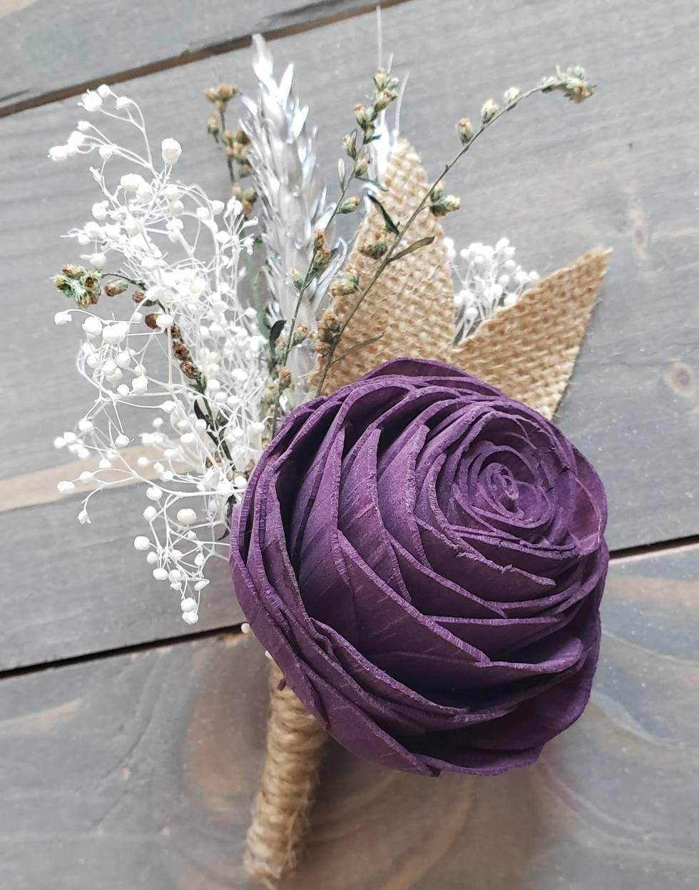 Plum Wheat Boutonniere