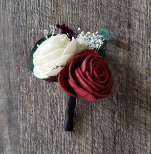 Burgundy Double Rose Boutonniere
