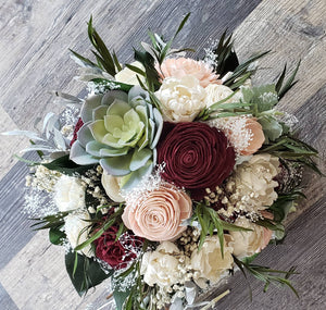 Burgundy and Blush Bohemian Bouquet