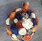 Orange and Navy Blue Bouquet with Rose Gold