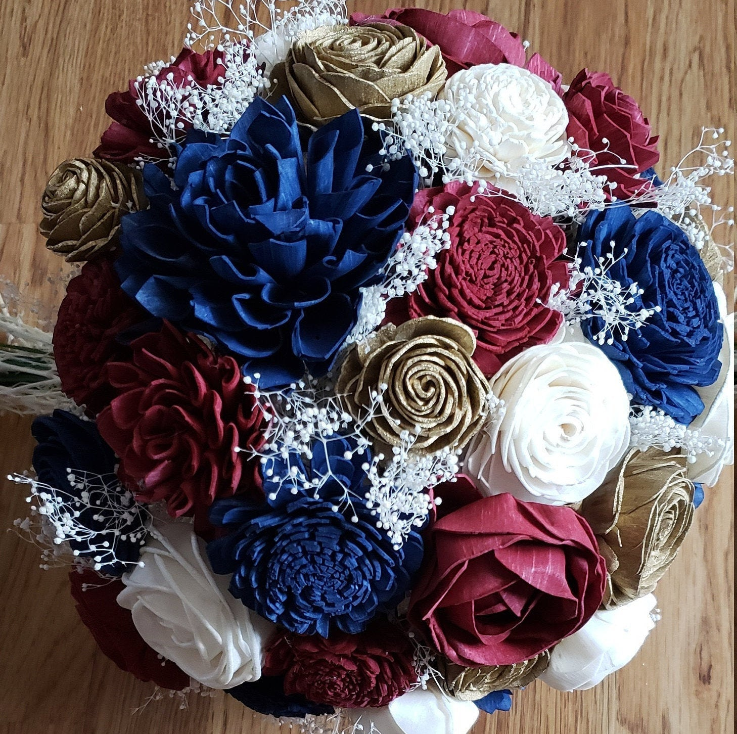 Burgundy, Navy, and Gold Bouquet