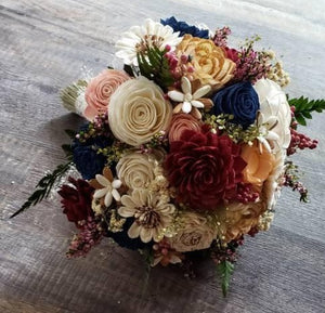 Navy and Burgundy and Peach Wildflower Bouquet