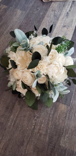 Ivory Lambs Ear and Eucalyptus Bouquet