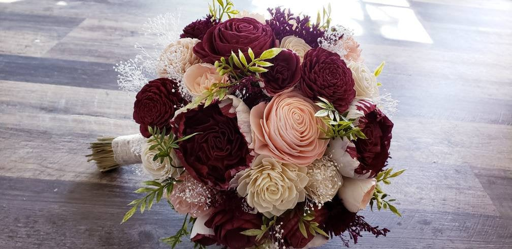 Burgundy and Blush Julliet Bouquet