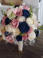 Dusty Pink and Navy Blue Bouquet