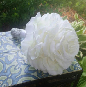 Glamelia White Rose Bouquet