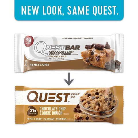 Protein Bars - Quest High Protein Bars - Chocolate Chip Cookie Dough - 12 Bars - ProteinWise