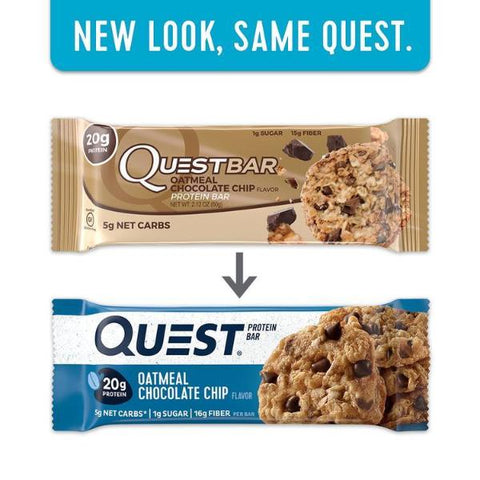 Protein Bars - Quest High Protein Bars - Oatmeal Chocolate Chip - 12 Bars - ProteinWise