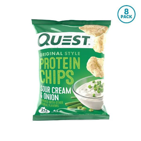 Snacks - Quest Protein Chips - Sour Cream & Onion - 8 Bags - ProteinWise