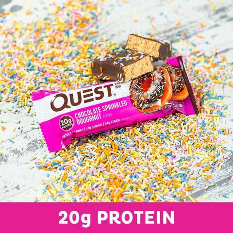 Protein Bars - Quest High Protein Bars - Chocolate Sprinkled Doughnut - 12 Bars - ProteinWise