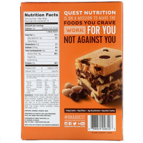 Quest High Protein Bars - Peanut Butter Brownie Smash - 12 Bars