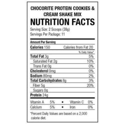 Protein Powder - HealthSmart ChocoRite High Protein Shake Mix - Cookies and Cream - 14.7 oz - ProteinWise