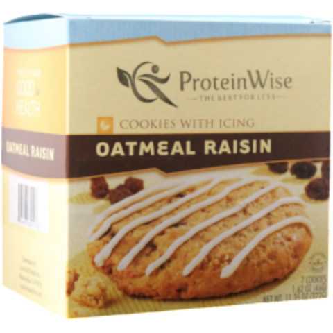 Snacks - ProteinWise - Oatmeal Raisin High Protein Cookies w/Icing - 7/Box - ProteinWise
