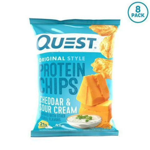 Snacks - Quest Protein Chips - Cheddar & Sour Cream - 8 Bags - ProteinWise